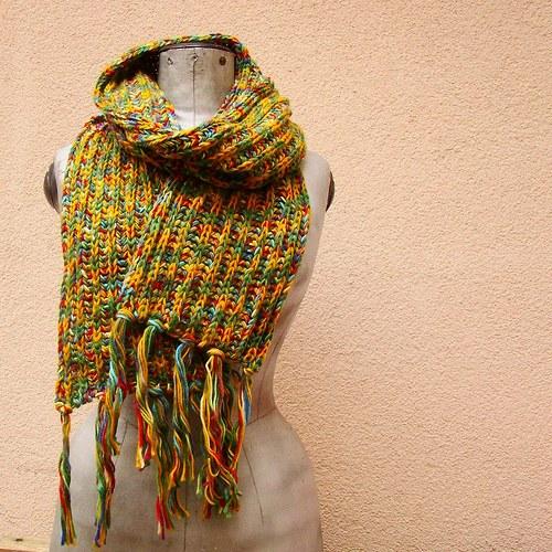 pletená melírovaná šála