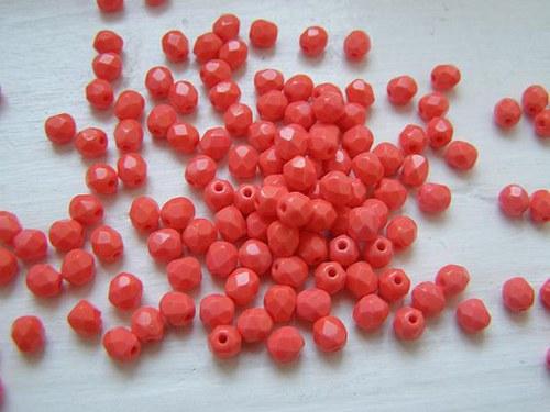 broušené korále 4mm - oranžová - 5g
