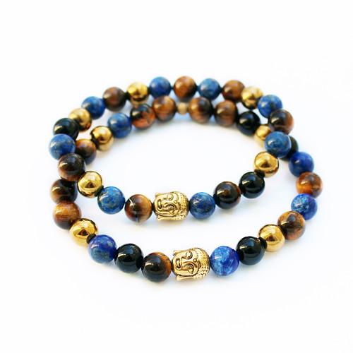 Párové náramky - lapis lazuli, hematit...