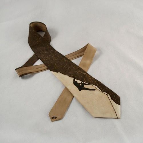 Hedvábná kravata (nejen) pro horolezce - hnědá