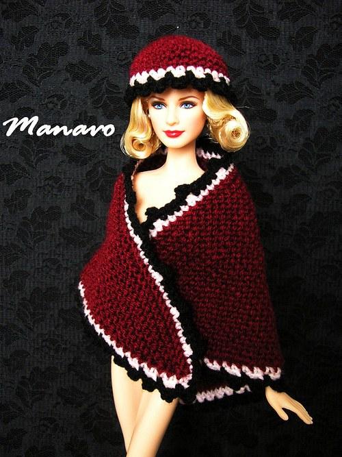 SLEVA 50% Vínový pléd s čepicí pro Barbie