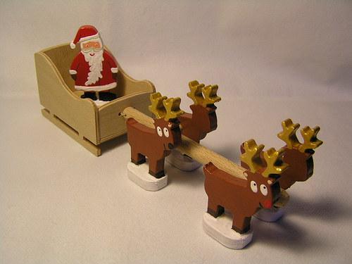Santa se záprahem dřevěný