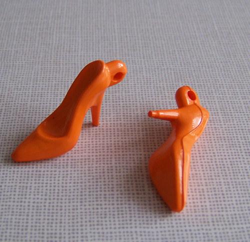 Přívěsek lodičky neprůhl/ oranžová / 35x15mm/ 20ks