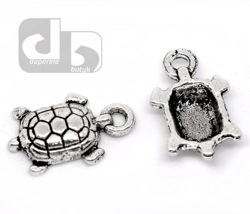 Stříbrný přívěšek želvy 2 ks/15 mm