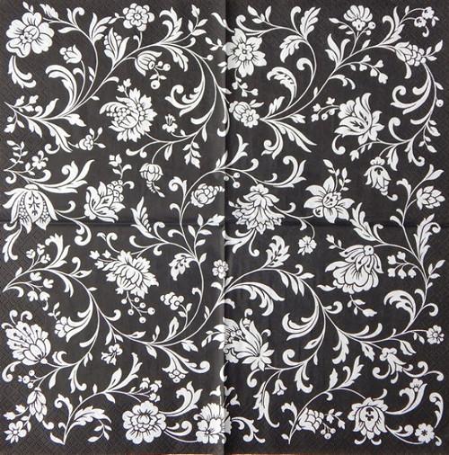 Černo bílé květy S 57