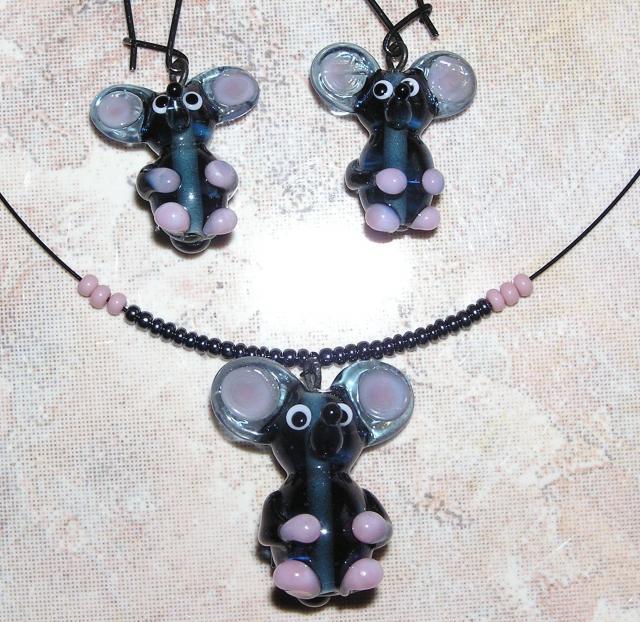 Souprava myši - vinuté perle
