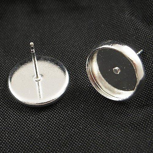náušnice s lůžkem/ stříbro/ 12mm/ 2ks (1pár)