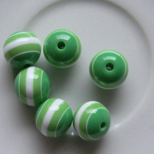 kuličky pruhované/ plast / 12mm/ zelená/ 10ks