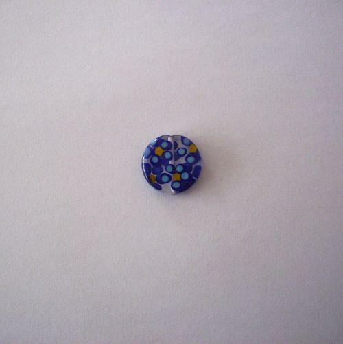 Vinutá perle - krystal s modrými kytičkami - 15 mm