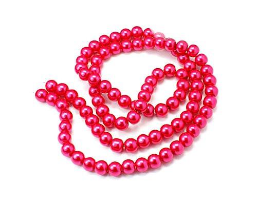 Kuličky sytě růžové, voskové, 8 mm, návlek