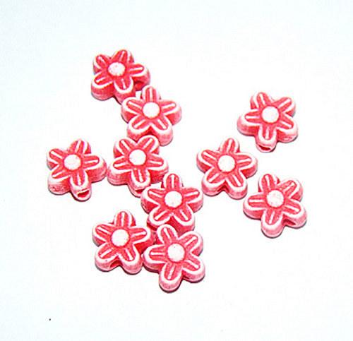 Korálky plast květinka červené