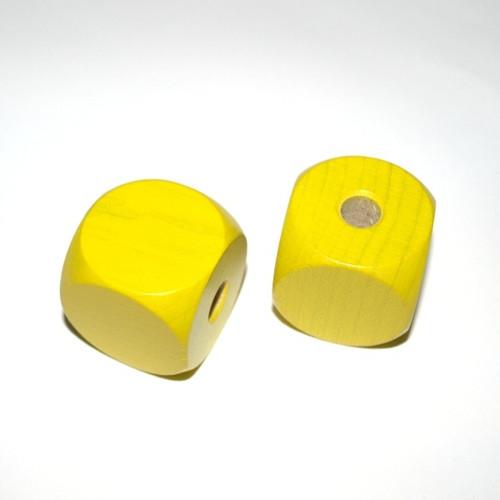 Dřevěné korálky - kostky 30 mm - syté 2ks  MAXI