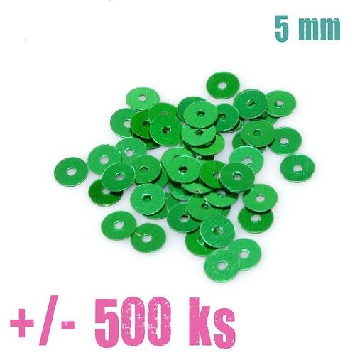 Flitry - kulaté, tm. zelené lesklé,5mm, cca 500 ks