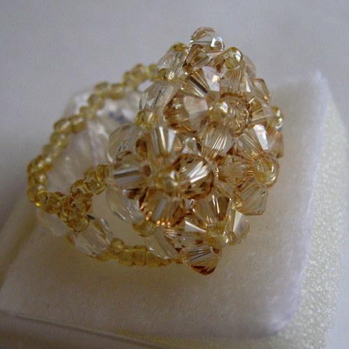 Medový - Swarovski prsten