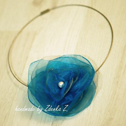Tyrkysovo - šedý náhrdelník