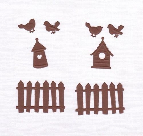 Ploty, budky, ptáčci - tmavě hnědé výseky (8 ks)