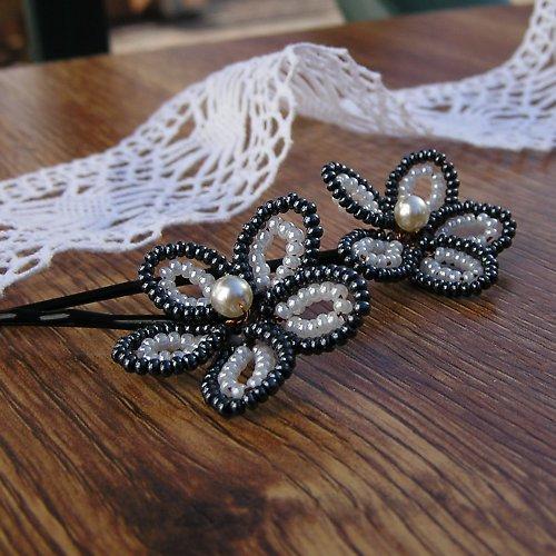 Korálkové sponky - kolekce Černá & bílá - 2 ks