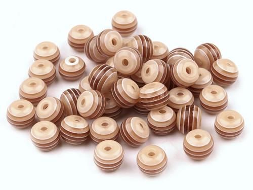 Plastové korálky Ø 8mm s proužkem - hnědé (10ks)