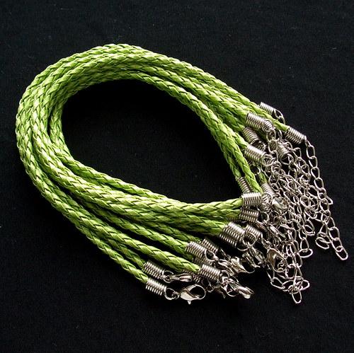 Splétaná šňůrka náramková zelená - 5 ks