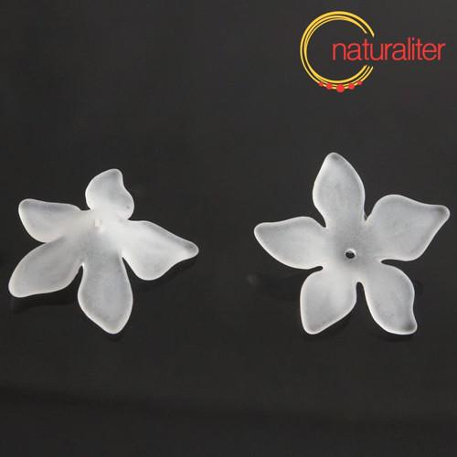 Květina akrylová - lilie 27mm bílá, 4ks