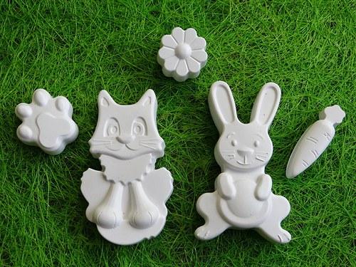 Sádrová dekorace velikonoce, zajíc, zajíček, kočka