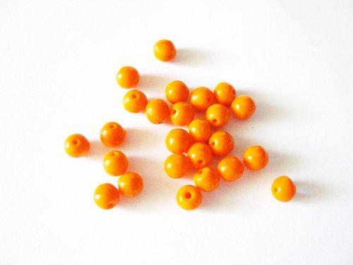Mačkané korálky - kulička - oranžová