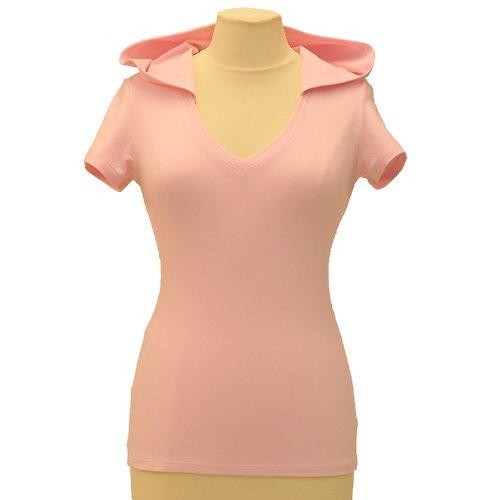 Růžové tričko s kapucí belaroma s krátkým rukávem