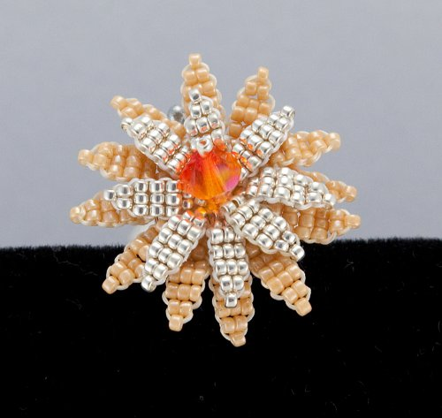 Prsten - astra z korálků