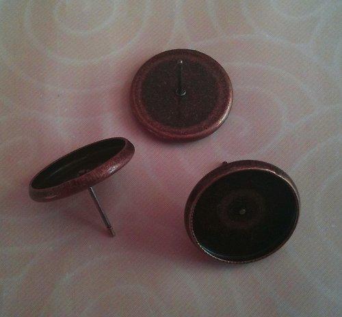 náušnice s lůžkem/ měď/ 14mm/ 2ks (1pár)