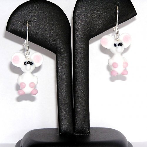 Náušnice bílé myšky - vinuté perle