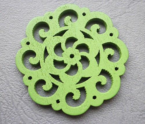 Dřevěná rozetka zelená, 4,2mm - 1ks