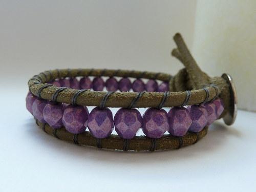 kombinovaný náramek .. fialová