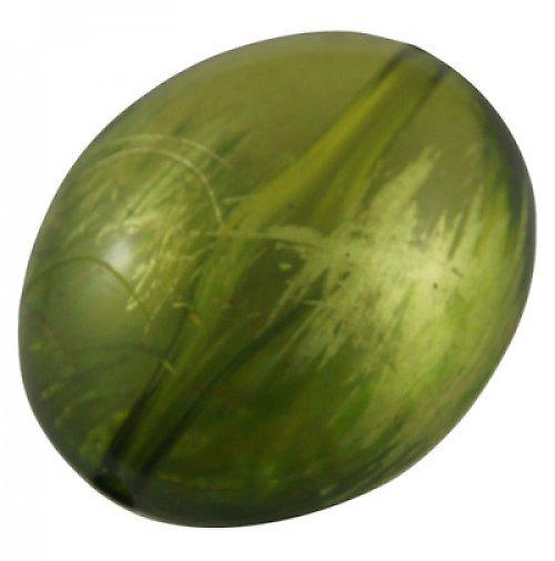 Akrylový korálek, zelený se zlatým zatíráním, 2ks!