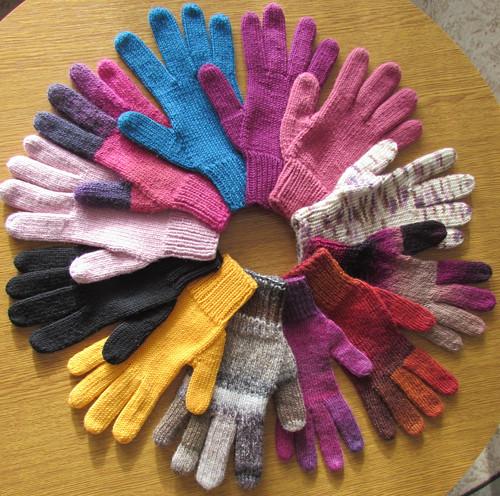 popis na pletené prstové rukavice