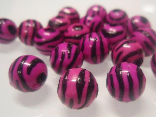 19472 Korálky zebra kulaté cyklám/černé bal.10ks