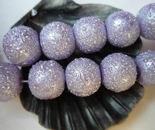 """fialové vroubkované perly \""""Zigana\"""" 10mm 8 ks"""