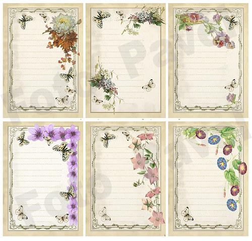 Vintage kartičky (journaling) - kytičky