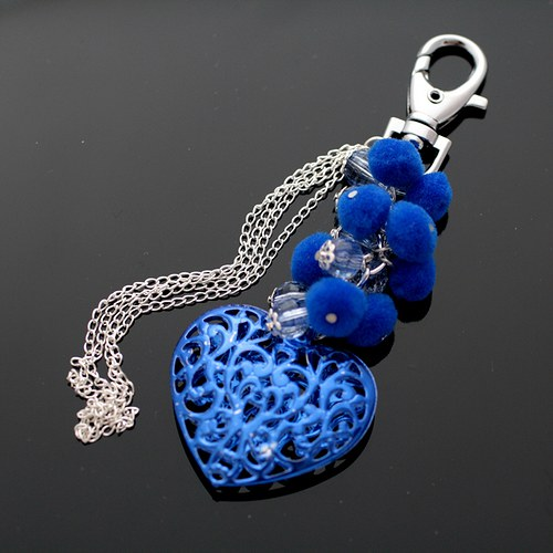 Modré srdce s řetízky - VÝPRODEJ