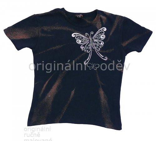 SLEVA: Malované tričko dámské- motýlek- tmavomodré
