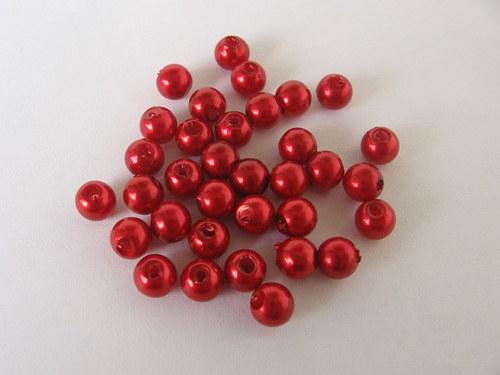 Voskové korálky - červená 5 mm / 30 ks
