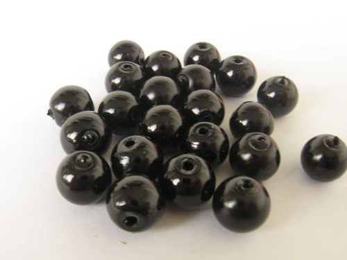 Vosková perla - černá 8 mm / 25 ks