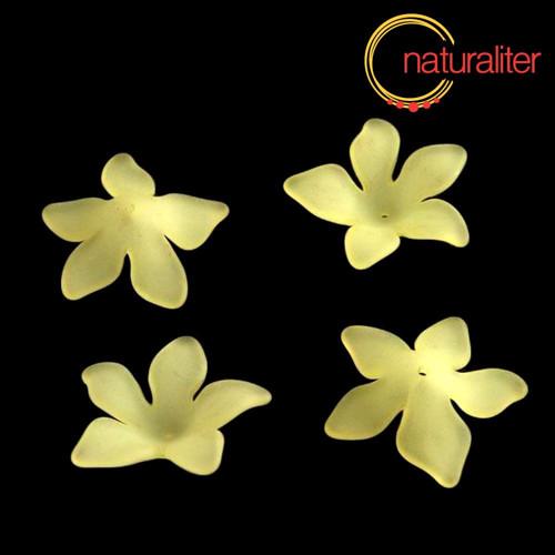 Květina akrylová - lilie 27mm žlutá, 4ks