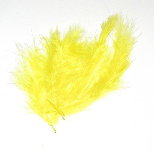 Peříčka - pštrosí, 4 ks, žlutá