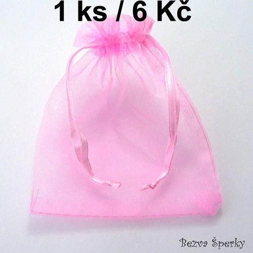 Světle růžový organzový pytlíček, 1 ks