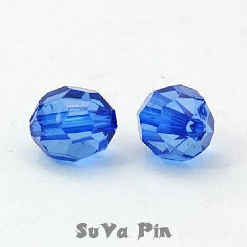 Korálky modrý průsvitný 8x10mm; 25 ks