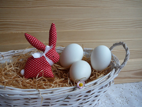 Zajíček  červeno-bílý minipuntík, bílá mašle