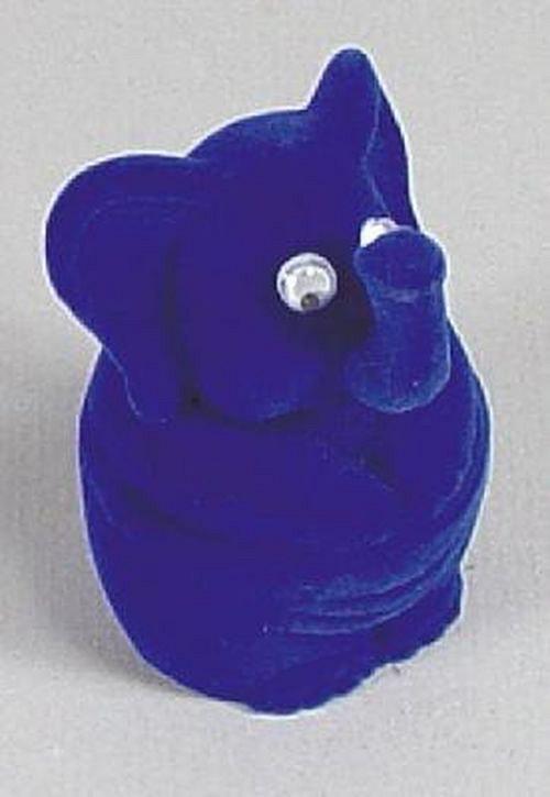 Sametová krabička na šperky - modrý slon