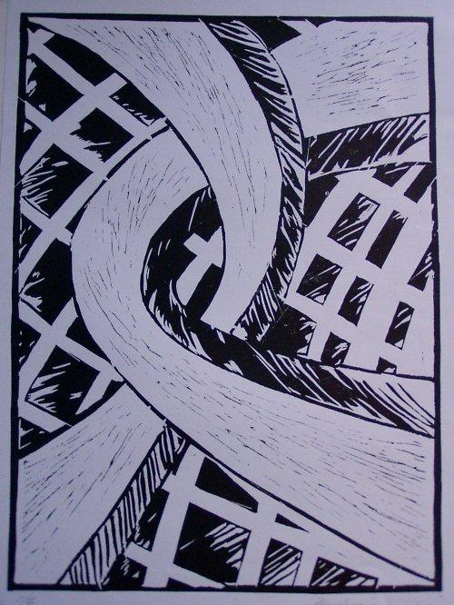 Cesty,linoryt na A3...2007..autorská grafika