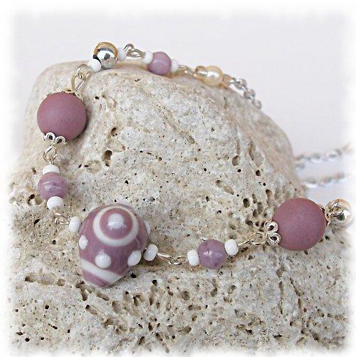 růžový pudr ... náhrdelník, VÝPRODEJ z 210,-