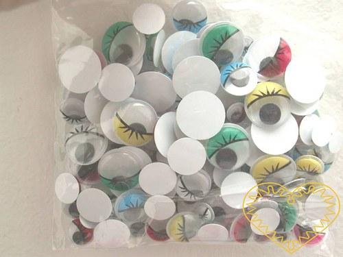 Barevné pohyblivé oči s víčky a řasami - 140 kusů